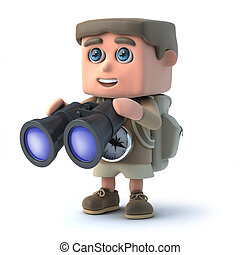 3d Hiker looking through binoculars
