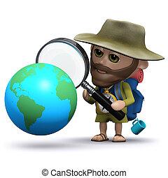3d Hiker studies a globe of the Earth