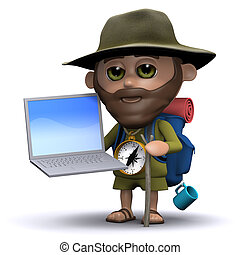 3d Hiker using a laptop pc - 3d render of a hiker with a...
