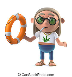 3d Hippie comes to the rescue - 3d render of a stoner hippie...