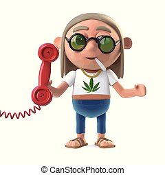 3d Hippie stoner answers the phone - 3d render of a hippie...