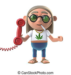 3d Hippie stoner answers the phone