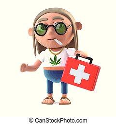 3d Hippie stoner brings medicine - 3d render of a hippy...