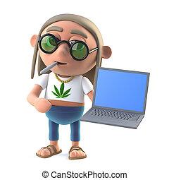 3d Hippie stoner has a new laptop pc - 3d render of a hippie...