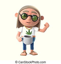3d Hippie stoner has a nice cup of coffee