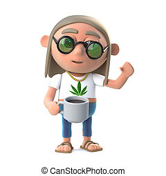 3d Hippie stoner has a nice cup of coffee - 3d render of a...