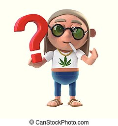 3d Hippie stoner has a question - 3d render of a hippie...