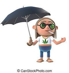 3d Hippie stoner has an umbrella - 3d render of a stoner...