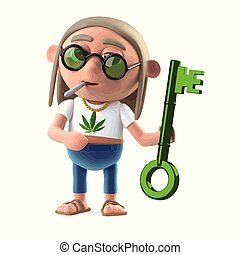 3d Hippie stoner holding a green metallic key - 3d render of...
