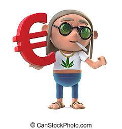 3d Hippie stoner holds Euro symbol
