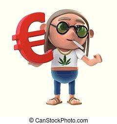 3d Hippie stoner holds Euro symbol - 3d render of a stoner...