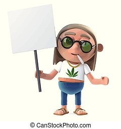 3d Hippie stoner is protesting with a blank placard - 3d...