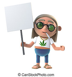 3d Hippie stoner is protesting with a blank placard