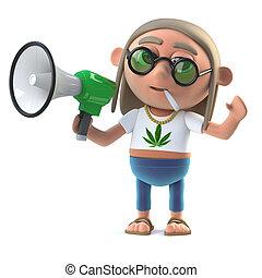 3d Hippie stoner makes an announcement with a loud hailer -...