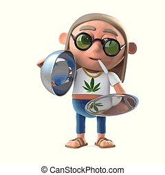 3d Hippie stoner offers a VIP service - 3d render of a...
