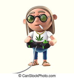3d Hippie stoner playing a video game - 3d render of a...
