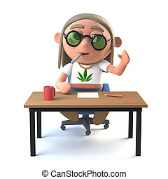 3d Hippie stoner sits at his desk and waves - 3d render of a...