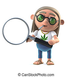 3d Hippie stoner using a magnifying glass - 3d render of a...