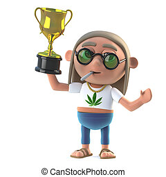 3d Hippie stoner wins the gold cup trophy