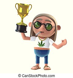 3d Hippie stoner wins the gold cup trophy - 3d render of a...