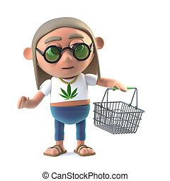 3d Hippie stoner with shopping basket - 3d render of a...