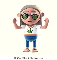 3d Hippy dope smoker is cheering - 3d render of a hippy...