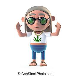 3d Hippy dope smoker is cheering