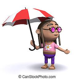 3d Hippy has an umbrella