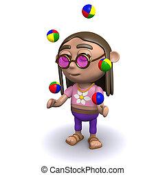 3d Hippy juggles - 3d render of a hippie juggling his balls