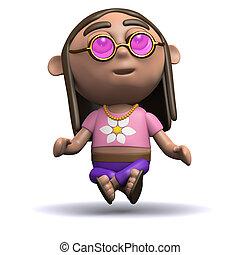 3d Hippy levitates