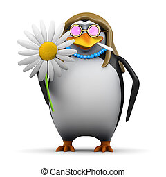 3d Hippy penguin with flower - 3d render of a hippie flower...