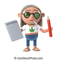 3d Hippy stoner has a notepad and pencil - 3d render of a...
