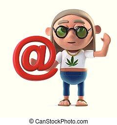 3d Hippy stoner has an email address - 3d render of a hippie...