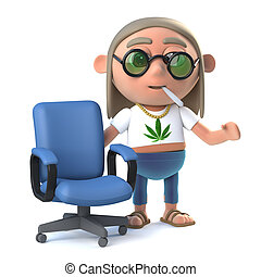 3d Hippy stoner offers you a chair - 3d render of a hippie...