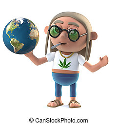 3d Hippy stoner studies a globe of the Earth - 3d render of...