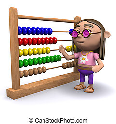 3d Hippy with an abacus - 3d render of a hippy with an...