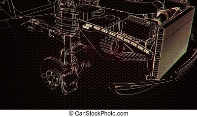3d, holographic, moteur, animation, voiture modèle, wireframe