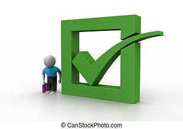 3d, hombre, actuación, verde, marca de verificación, en caja