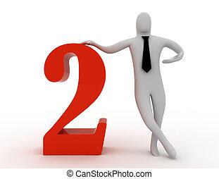 3d, hombre, asimiento, numere dos