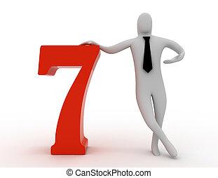 3d, hombre, asimiento, numere siete