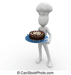 3d, hombre, chef, con, pastel