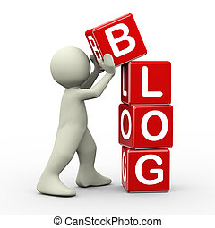 3d, hombre, colocación, blog, cubos