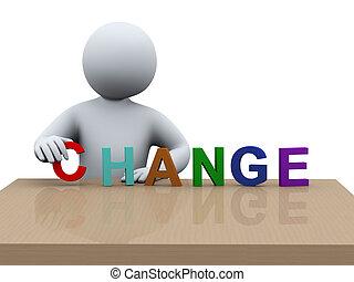 3d, hombre, colocación, palabra, cambio