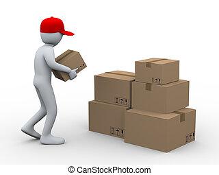 3d, hombre, colocación, paquete, cajas