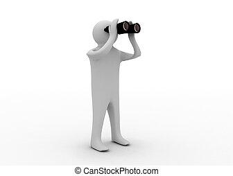 3d, hombre, con, binocular