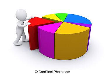 3d, hombre, con, color, diagrama