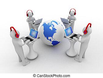 3d, hombre, con, cuaderno, conectado, a, internet