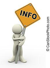 3d, hombre, con, información, tabla signo