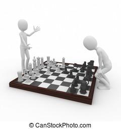 3d, hombre, con, juego del ajedrez