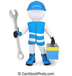 3d, hombre, con, llave inglesa, y, caja de herramientas